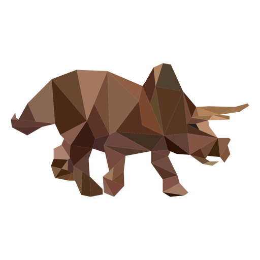 Polygonal triceratops dinosaur colored