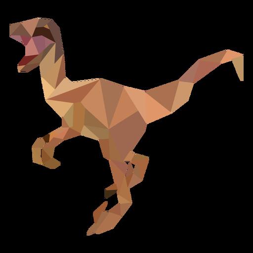 Dinosaurio velociraptor poligonal de color
