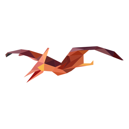 Polygonal flying dinosaur colored