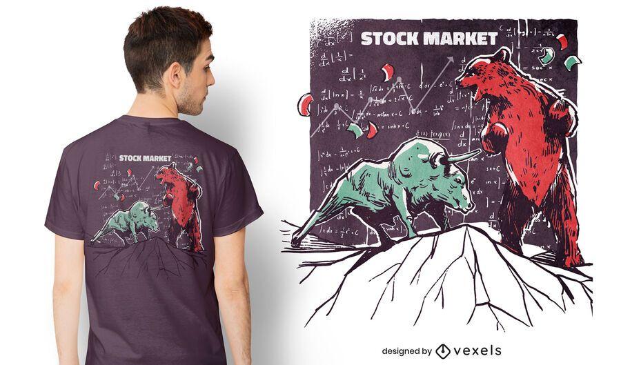 Diseño de camiseta de mercado de valores de animales.