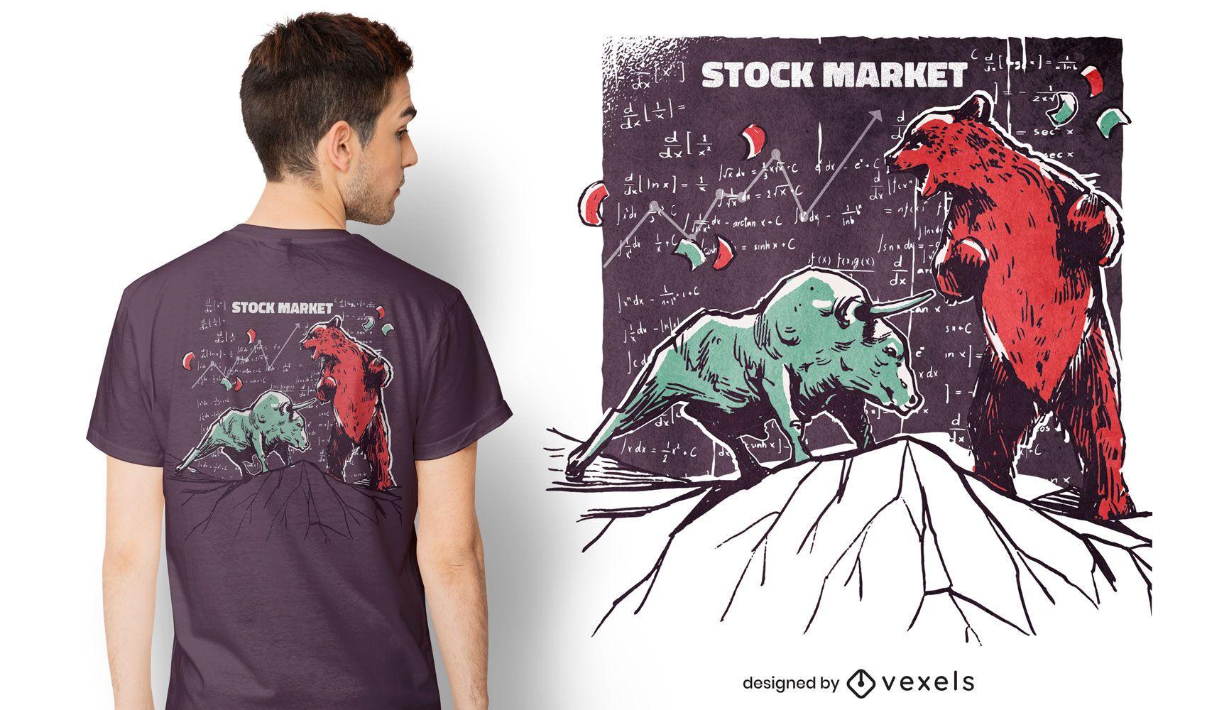Design de camisetas do mercado de ações de animais