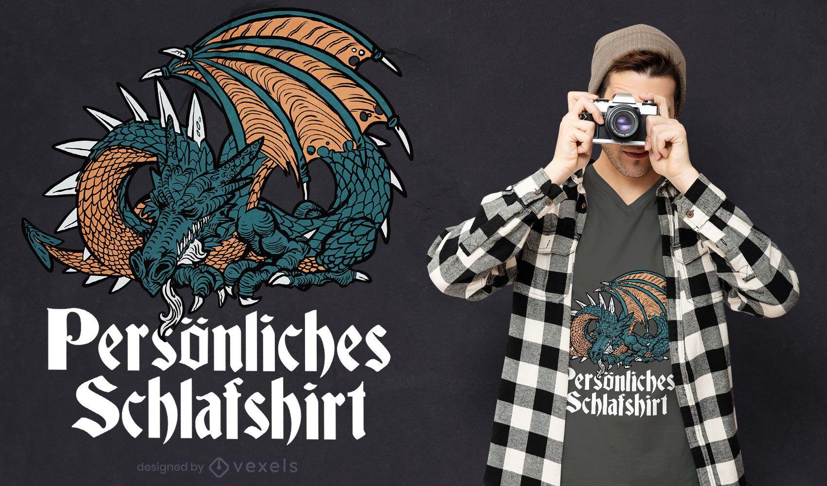 Design de camiseta com dragão para dormir