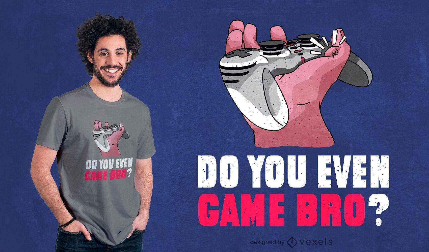 Diseño de camiseta gamer bro