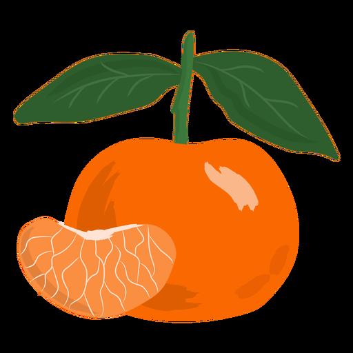 Rebanada de mandarina plana