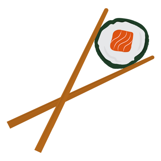 Chopsticks and sushi flat