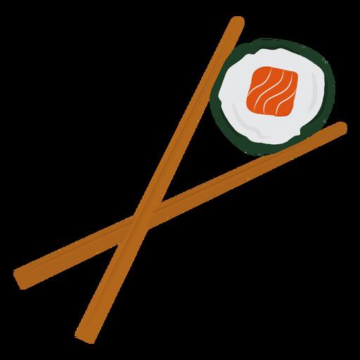 Palillos y sushi plano
