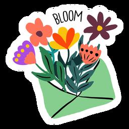 Envelope blooming flowers flat