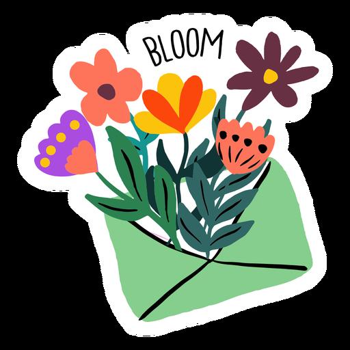 Envelope blooming flowers flat Transparent PNG