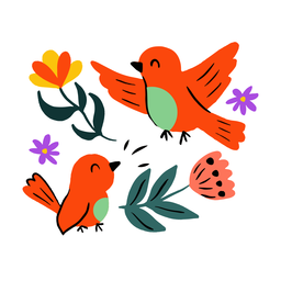 Aves en primavera plana