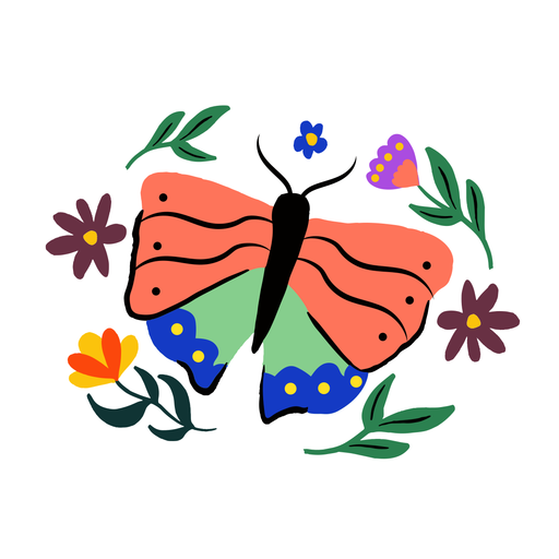 Spring butterfly flat