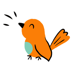 Pájaro piando plano