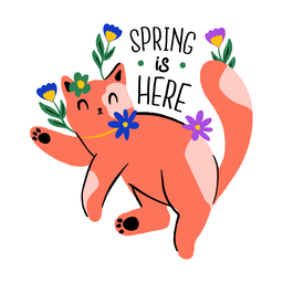Cat welcoming spring flat