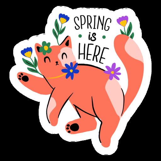 Cat welcoming spring flat