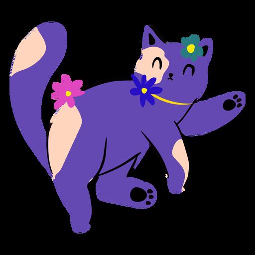 Gatito en primavera plana