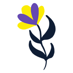 Yellow and purple flower flat