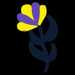 Yellow and purple flower flat