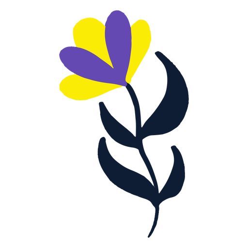 Yellow and purple flower flat Transparent PNG