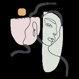 Línea continua de retrato de mujer