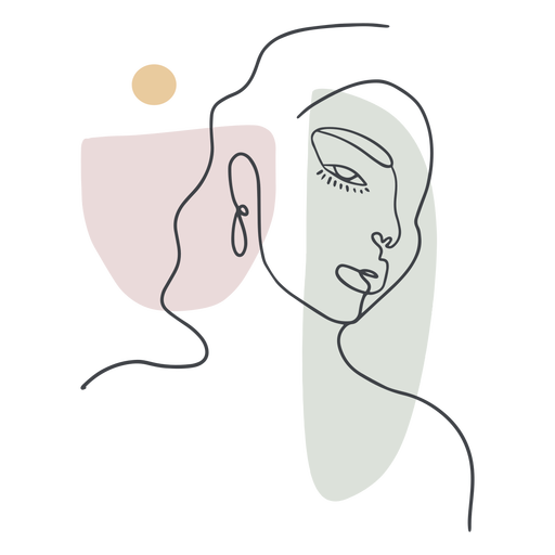 Línea continua de retrato de mujer Transparent PNG