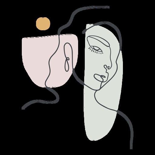 Linha contínua de retrato de mulher