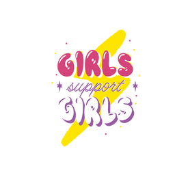 Girls support girls colorful lettering