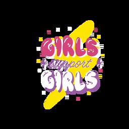 Las niñas apoyan a las niñas letras coloridas