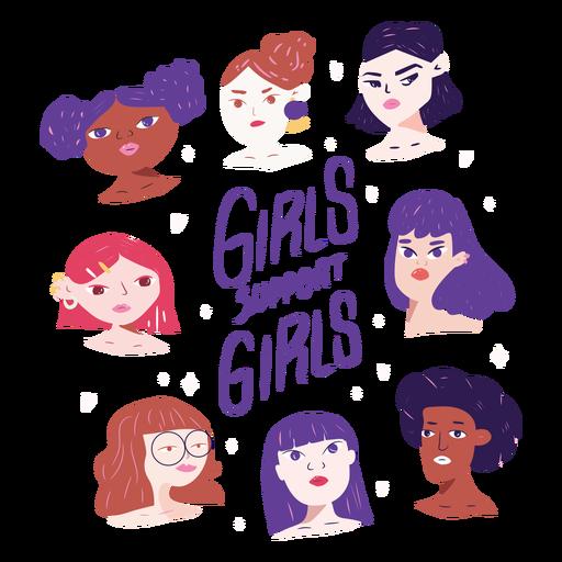 Las niñas apoyan a los personajes de las niñas. Transparent PNG