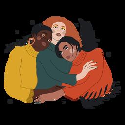 Three women hugging illustration