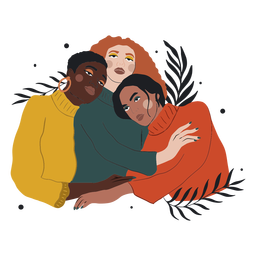 Três mulheres abraçando a ilustração