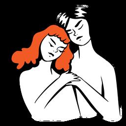 Mujer, se abrazar, ilustración