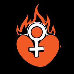 Emblema de coração vermelho em chamas