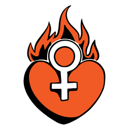 Red heart on fire badge