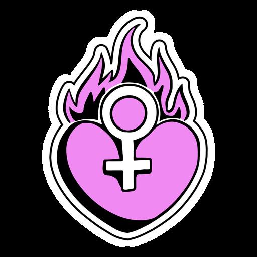 Symbol heart on fire badge