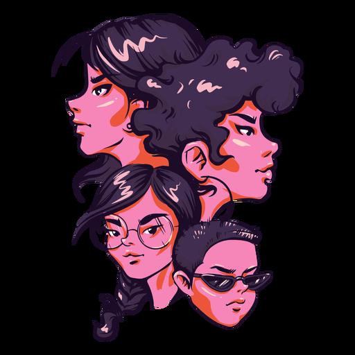 Ilustración de grupo de chicas