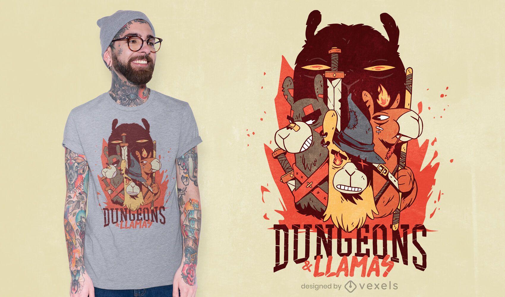 Dungeons und Lamas T-Shirt Design