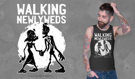 Diseño de camiseta de recién casados caminando.