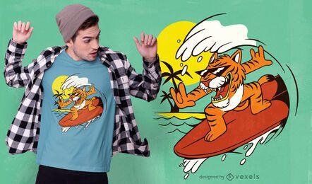 Design de camiseta de tigre surfando