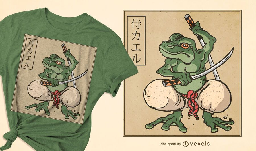 Diseño de camiseta Samurai Frog