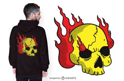 Burning skull t-shirt design