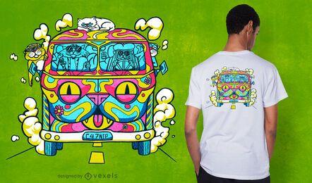 Diseño de camiseta hippie cat van