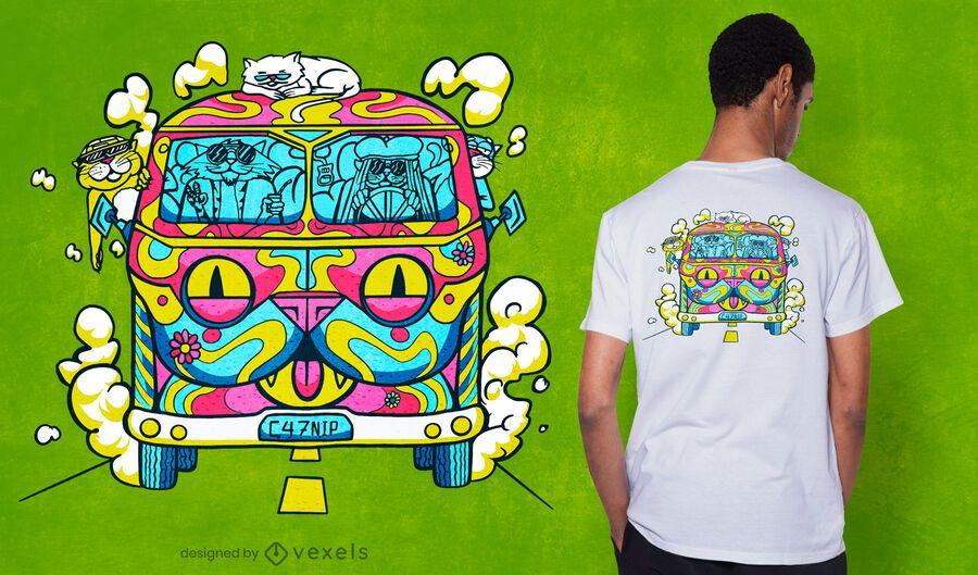 Hippie cat van t-shirt design
