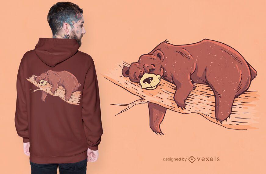 Design de camiseta de urso preguiçoso