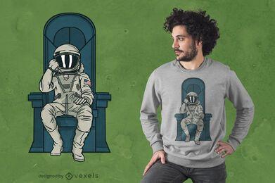Diseño de camiseta de trono de astronauta.