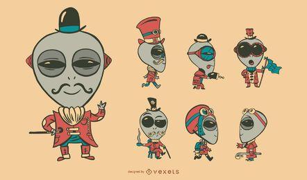 Conjunto de personagens alienígenas Steampunk