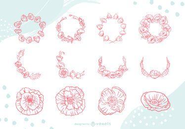 Conjunto de coronas florales