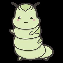 Kawaii caterpillar flat