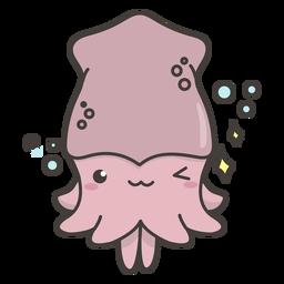 Plano de calamar kawaii feliz