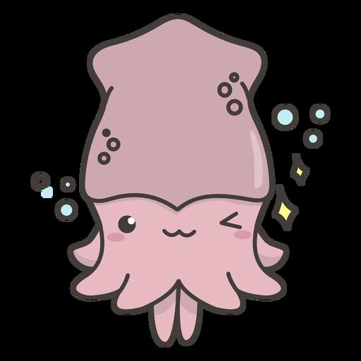 Happy kawaii squid flat