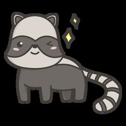 Kawaii racoon winking flat