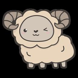Kawaii sheep winking flat